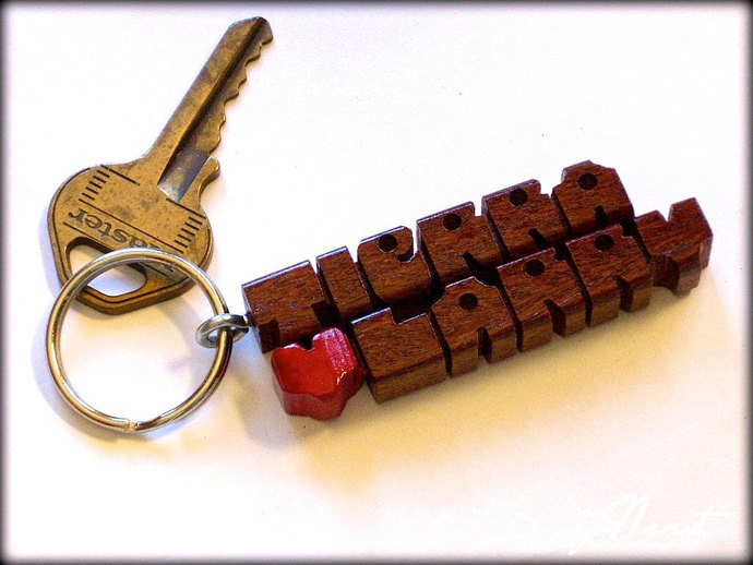 Cumaru Wood 2-Liner Love Keychain, Names Custom Carved to Order