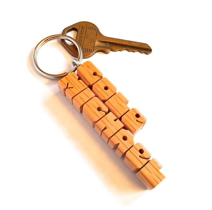 Oak Wood 2-Liner Keychain, Custom Carved to Order