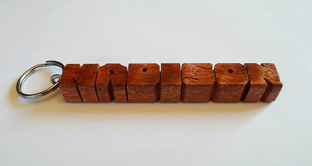 """MADISON - Sample Name Keychain in Sapele """"Pommele"""" Wood"""