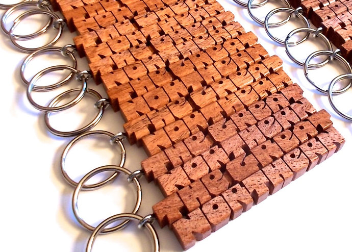 Mesquite Wood 2-Liner Keychain, Custom Carved to Order
