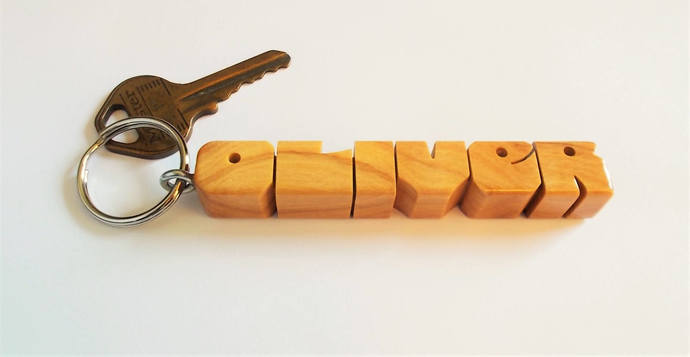 Name Keychain in Olive Wood, Carved to Order
