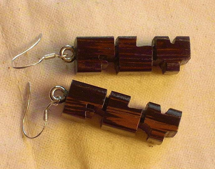 Exotic Wood Initial Earrings - Pair Handmade to Order