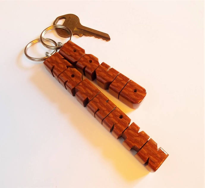 Name Keychain in Leopardwood, Carved to Order
