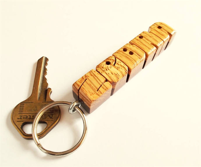 Zebrano and Ipe Woods Name Keychain, Cross-Bonded , Carved to Order