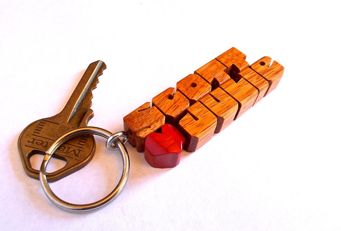 Canarywood 2-Liner Love Keychain, Names Custom Carved to Order