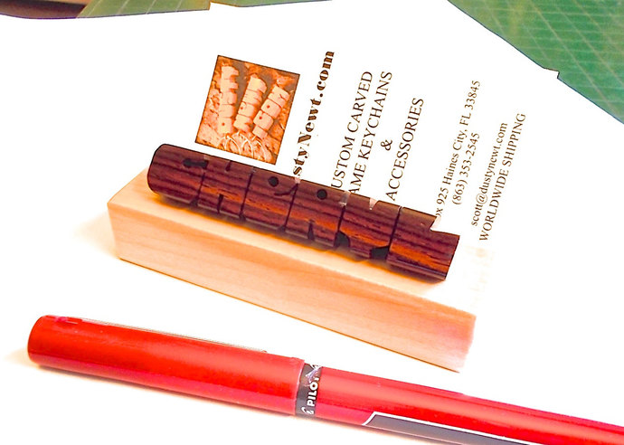 Desk Name and Business Card Holder in Rosewood and Maple Woods, Custom Carved to
