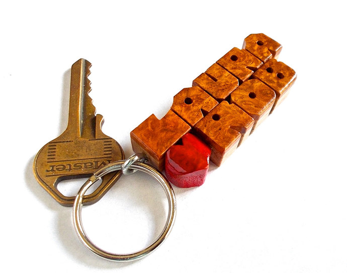 Amboyna Burl / Walnut Wood 2-Liner Love Keychain, Names Custom Carved to Order