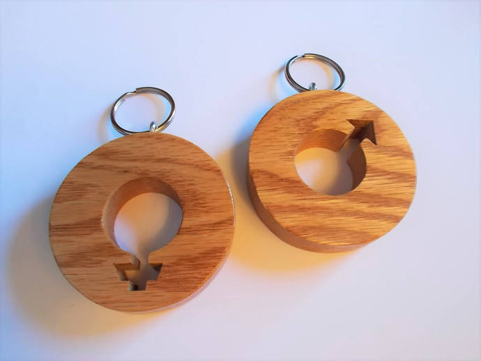 Restroom Key Keychains, Pair (2) Male and Female, Large 3 Inch, Solid Oak Wood