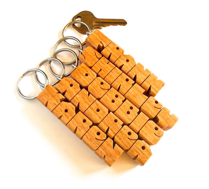 Name Keychain in Oak Wood, Carved to Order