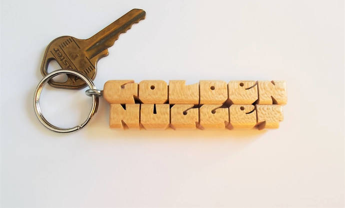 Maple Wood 2-Liner Keychain, Custom Carved to Order