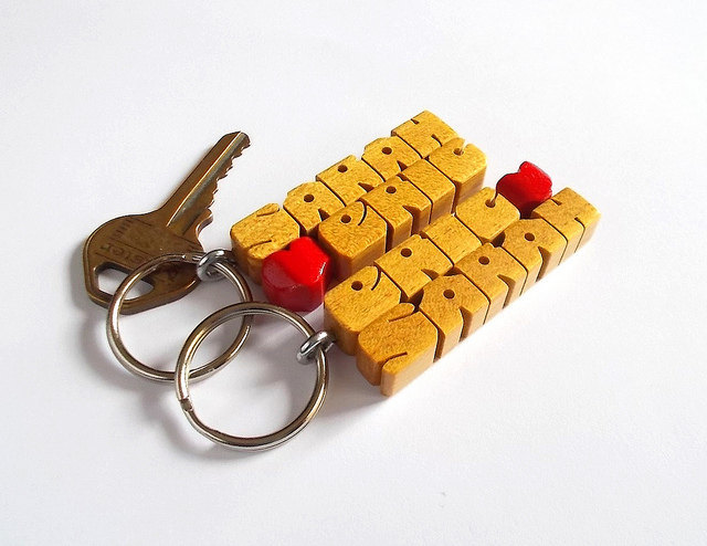 Pau Amarello Wood 2-Liner Love Keychain, Names Custom Carved to Order