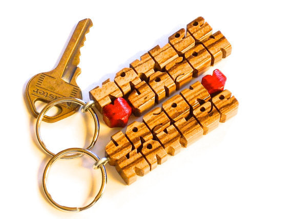 Zebrano Wood 2-Liner Love Keychain - Names Custom Carved to Order