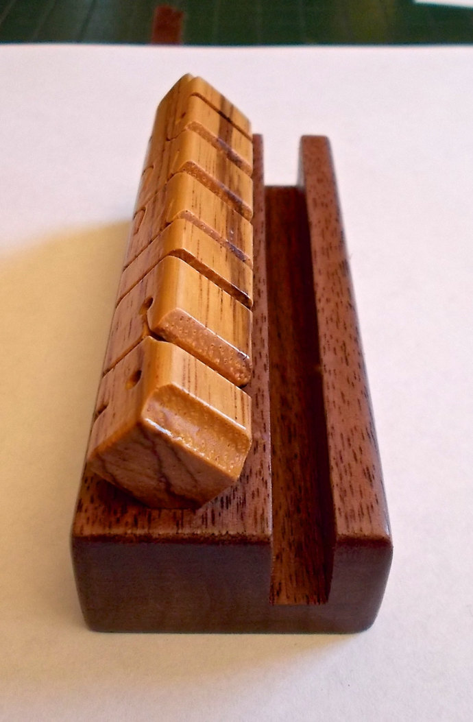 Desk Name and Business Card Holder in Zebrano and Walnut Woods, Custom Carved to