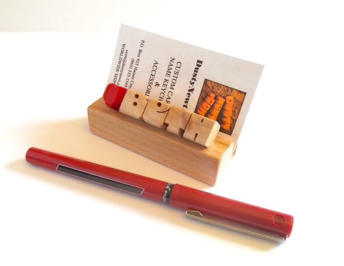 Desk Name with Heart and Business Card Holder in Maple Wood , Custom Carved to