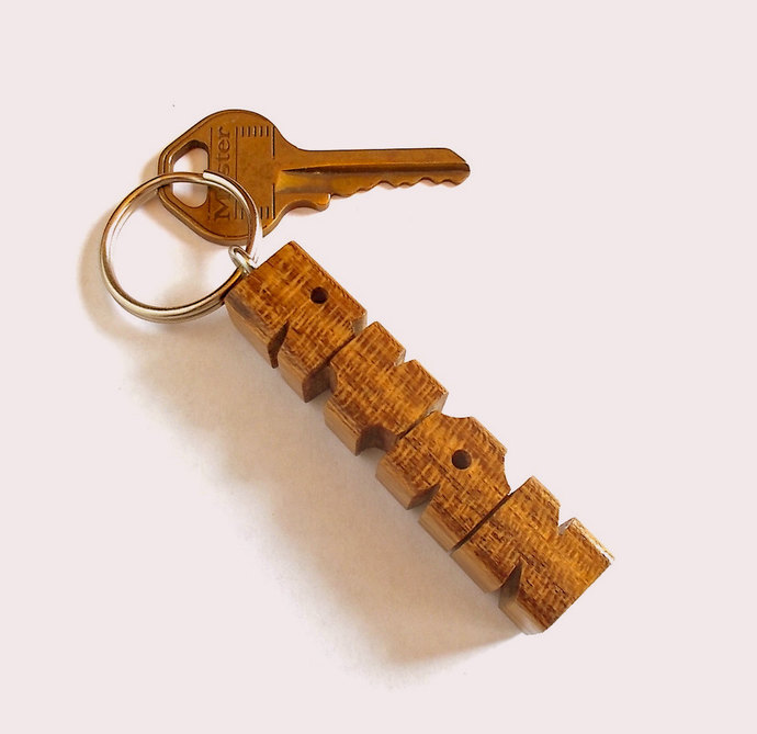 Name Keychain in Lauro Preto Wood, Carved to Order