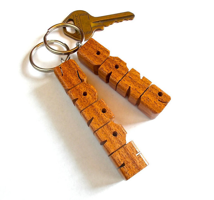 Name Keychain in Mesquite Wood, Carved to Order