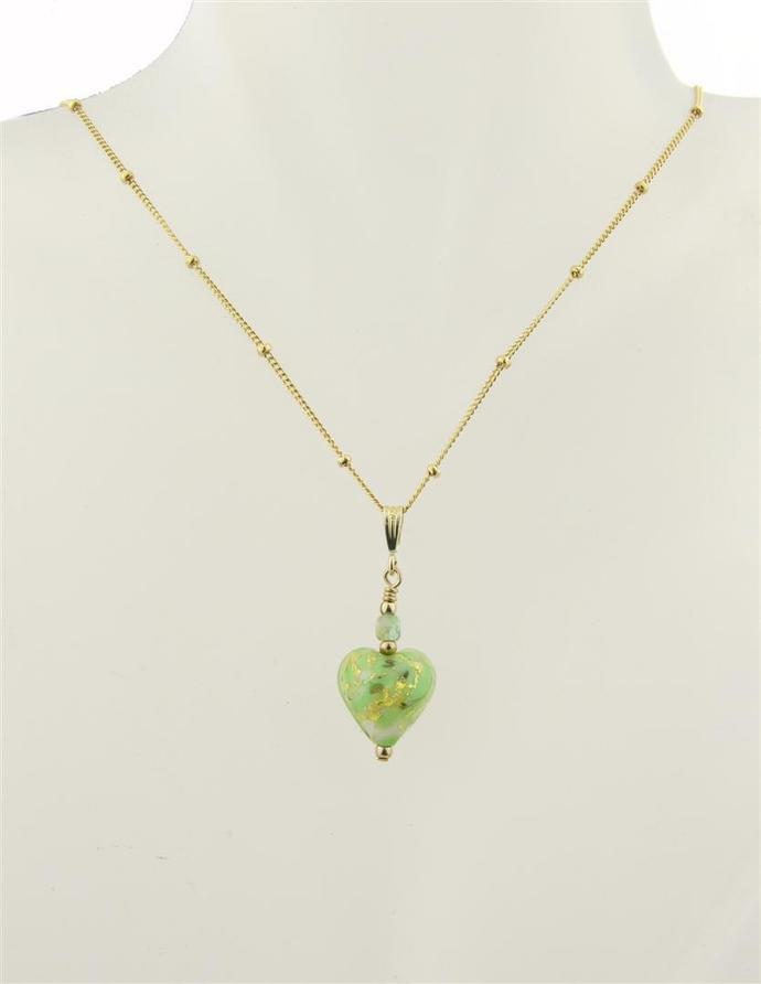 Light Green Venetian Heart Necklace - venetian glass, gold filled, gold leaf,