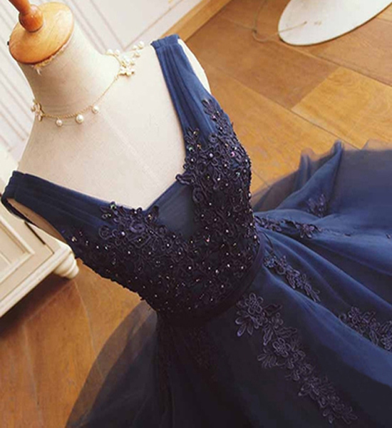 Navy Lace Homecoming Dresses, Tulle Homecoming Dresses, Beading Homecoming