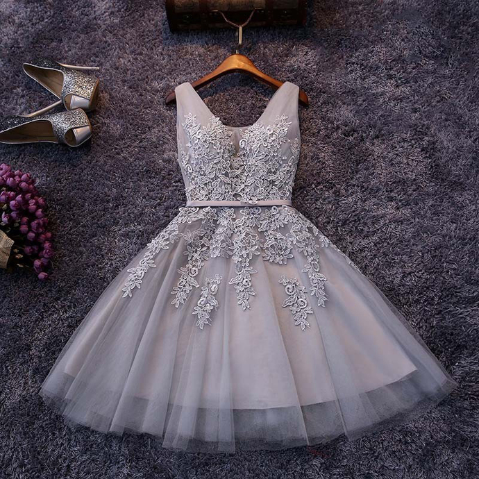 Gray Homecoming Dresses,Tulle Homecoming Dresses,Appliqued Homecoming