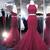 Mermaid Burgundy Prom Dresses,Two Piece Prom Dresses,Lace Prom Dresses,Mermaid