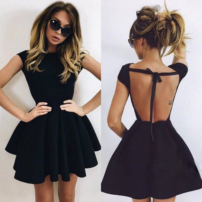 Homecoming Dresses,Black Homecoming Dresses,Backless Homecoming Dresses,Short