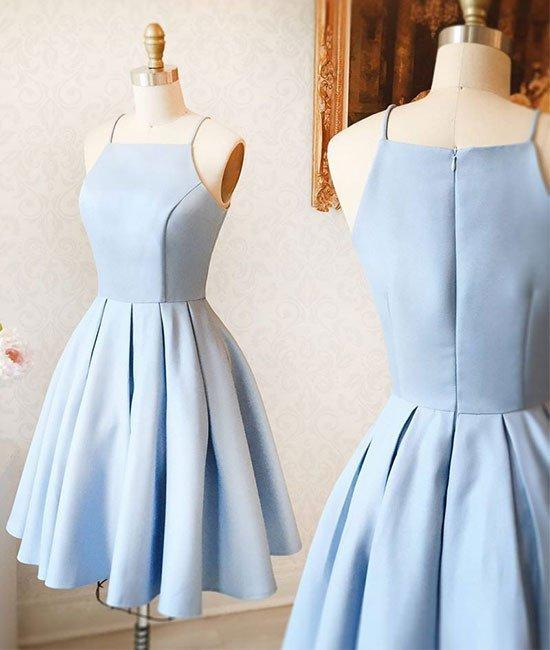 A-Line Halter Light Blue Short Homecoming Dress