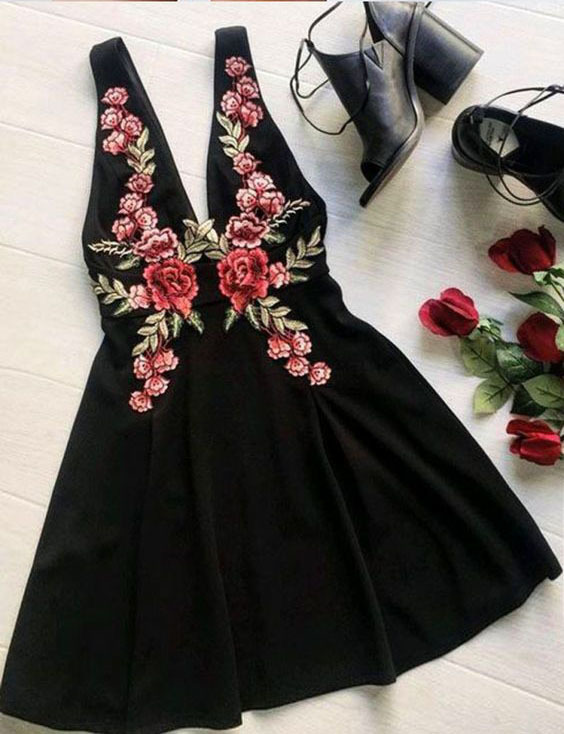 Black Homecoming Dresses,Cute Homecoming Dress,Lace Homecoming Dress,Short Prom