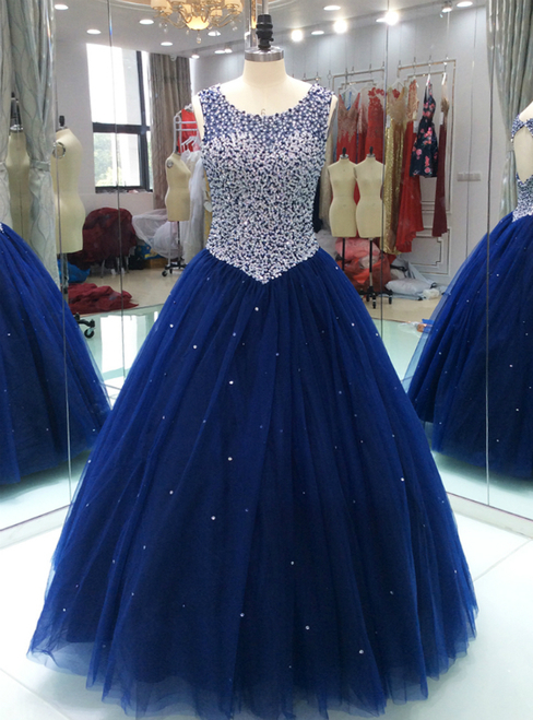 Royal Blue Sheer Neck, Quinceanera Dress ,With Keyhole, Back Pearls ,Beaded