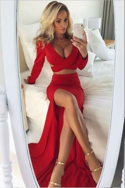 Two Piece V-Neck Long Sleeves Dark Red Prom Dress with Split