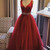 Gorgeous V Neck Wine Red Long Prom Dress