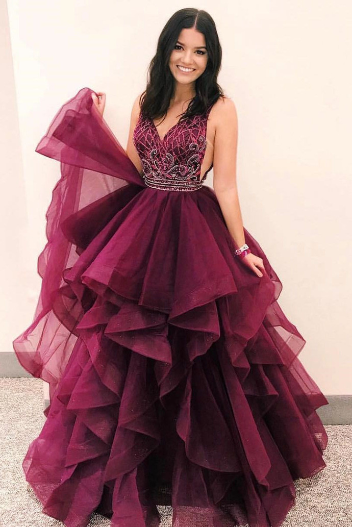 V Neck Burgundy Long Prom Dress Quinceanera Dress by dresses on Zibbet