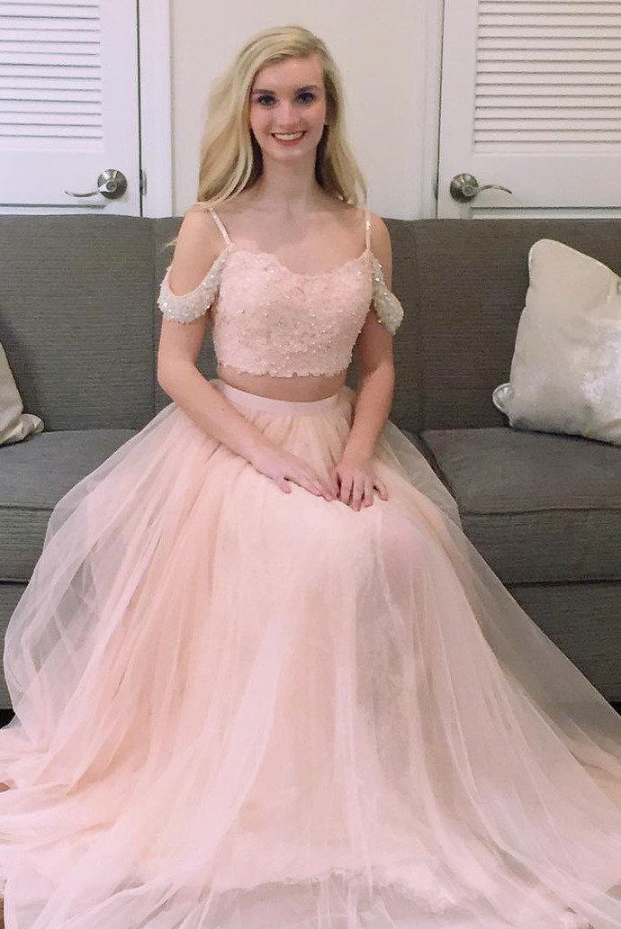 Two Piece Pink Long Prom Dress