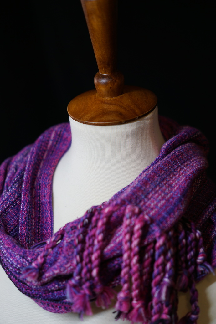 Fringed Purple/Pink Cowl with Variegated Cotton Weft