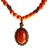 Coral Color Beadednecklace, matching pendant and handmade copper color spacer