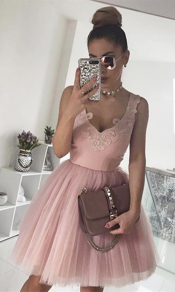 V-neck Party Dress 2018,party dress,prom dress,homecoming dress,short party