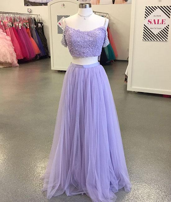 Charming Prom Dress,Tulle Prom Gown,Beading Prom Dress,Two Pieces Prom Gown 826