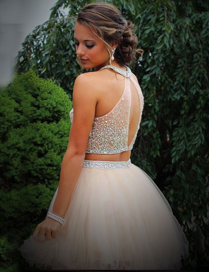 Two Pieces Beaded Halter Homecoming Dress,Prom Dress For Teens,homecoming