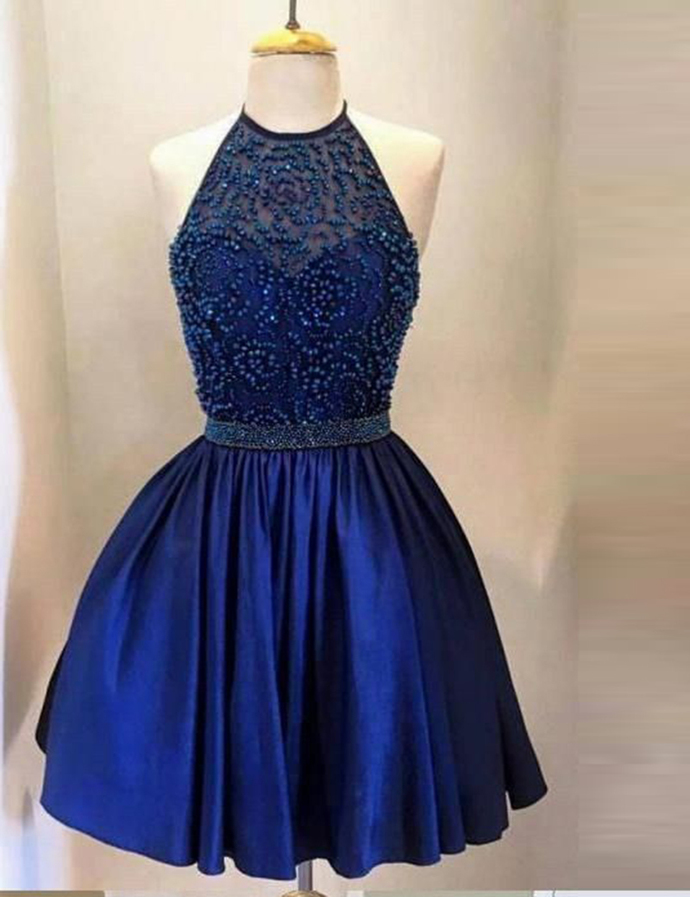 Navy Blue Backless Halter Homecoming Dress For Teens,Short Beaded Crystal Junior