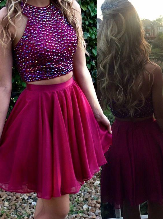 short homecoming dress,chiffon homecoming dress,sparkly homecoming dress,two