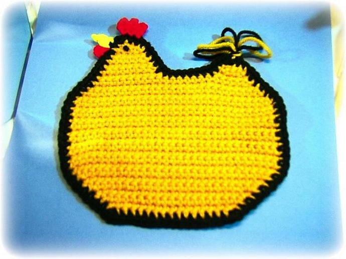 Shabby chic YELLOW CHICKEN potholder, trivet, cozy, hot pad