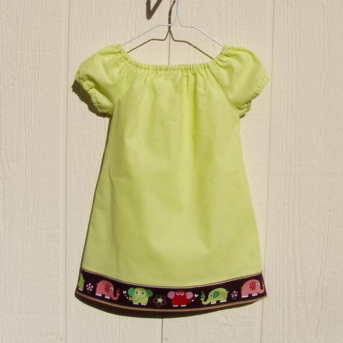 Elephants in Love Peasant Dress, size 4T