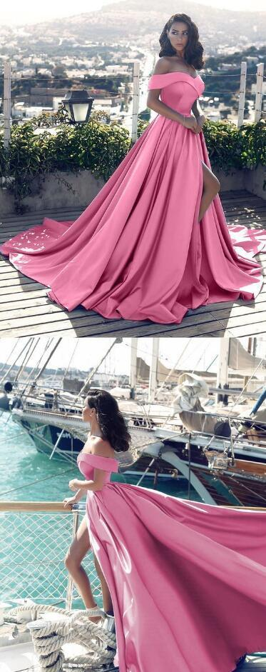 Long Stain Prom Dresses,Sexy prom Dress,Cheap Prom Dress,Off Shoulder Long Satin