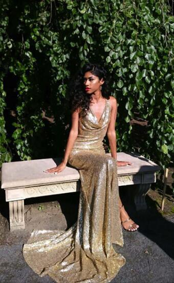 9290a8ee Gold Sequin Prom Dress ,Long Prom Dress with Side Slit,Sexy Prom Dress,