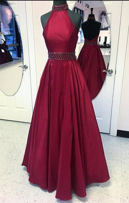 Burgundy Prom Dress,Stain Prom Dress,Sexy Prom Gown,round neck long prom dress,