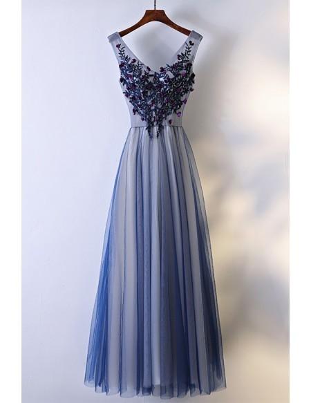 Navy Blue Long Tulle Prom Dress V-neck Sleeveless Dresses