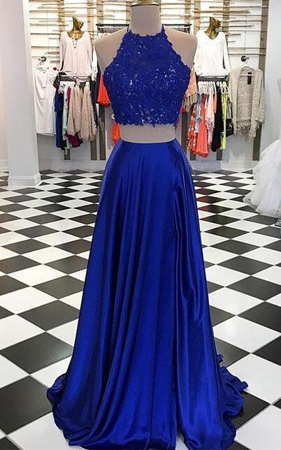360b7f2b0f Royal Blue Prom Dress,Lace Prom Dress,Sexy Two-Piece Long Prom Dress