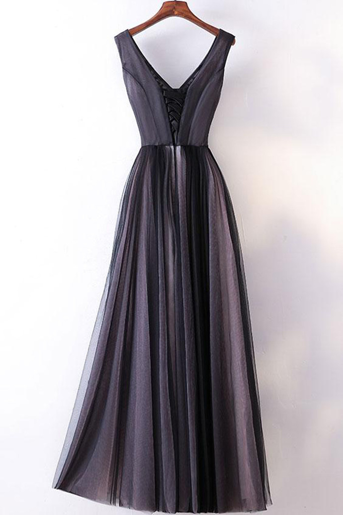 Spring black tulle V neck long embroidery evening dress, long black pageant