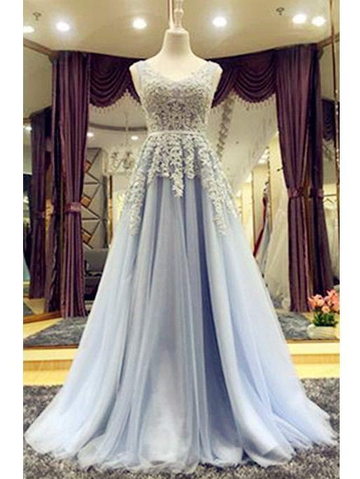 Beautiful Prom Dresses V-neck Lace-up Floor-length Chic Prom Dress/Evening Dress