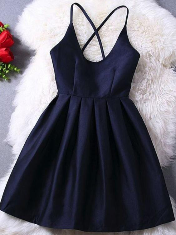 Homecoming Dress Dark Navy Criss-Cross Straps Short Prom Dress Party Dress