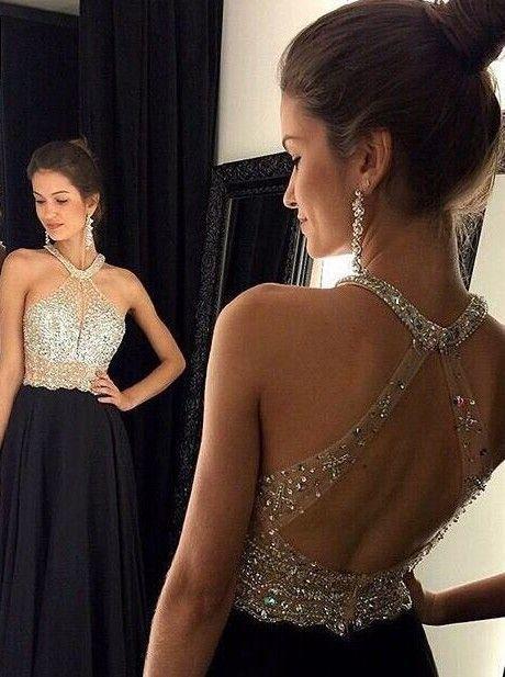 Sexy A-linie Neckholder Bodenlangen Schwarzen Ballkleid Abendkleid mit Strass
